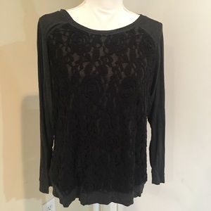 Dressbarn Lace Front Long Sleeve Pullover Crew
